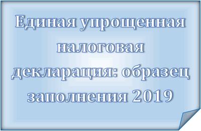 Единая упрощенная налоговая декларация: образец заполнения в 2019 году